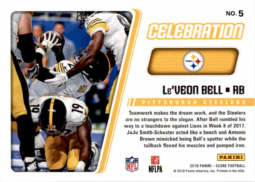 2018 Panini Score Celebration Le'Veon Bell #5 card back image