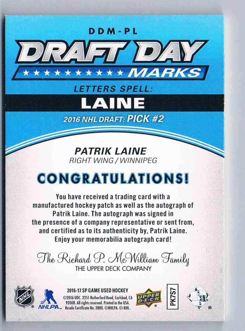2016-17 Upper Deck SP Game Used Draft Day Marks Patrik Laine #DDM-PL card back image