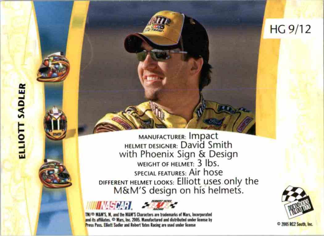 2005 Press Pass Vip Head Gear Elliot Sadler #HG9 card back image