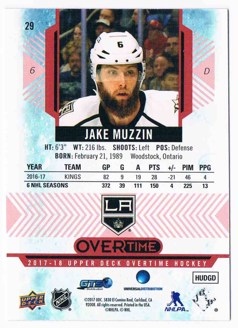 2017-18 Upper Deck Overtime Red Jake Muzzin #29 card back image