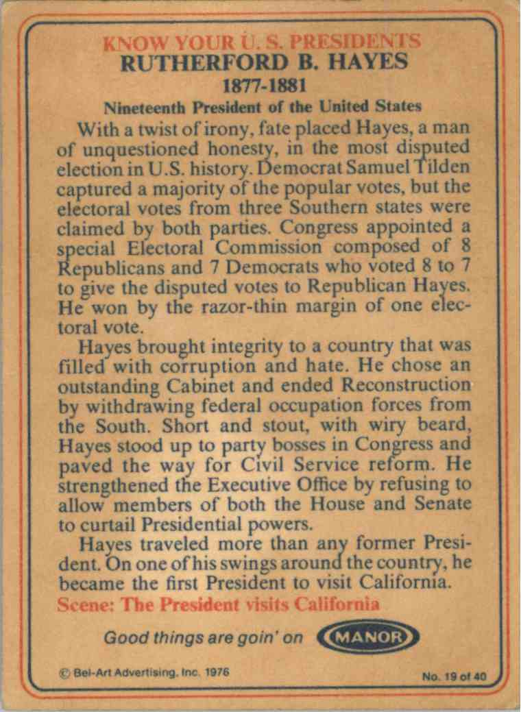 1976 Bel-Art Manor Rutherford B. Hayes #19 card back image