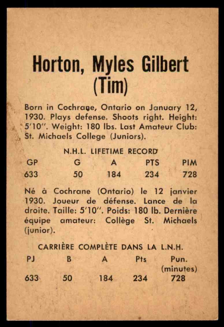 1962-63 Parkhurst Tim Horton  (B) #7 card back image