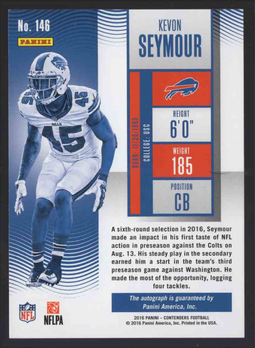 2016 Panini Contenders Kevon Seymour #146 card back image
