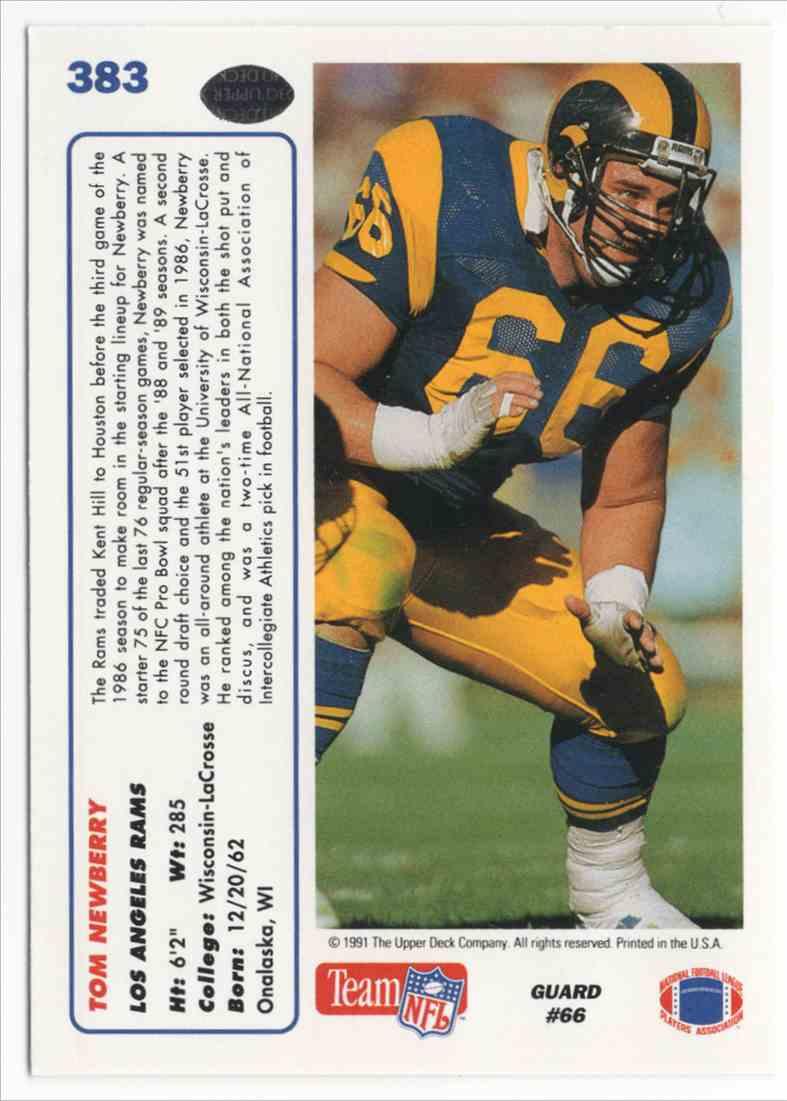 1991 Upper Deck Tom Newberry #383 card back image