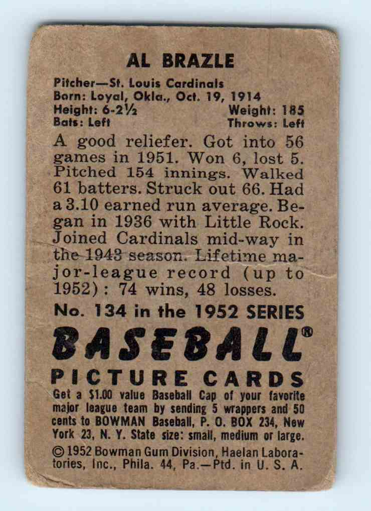 1952 Bowman Al Brazle #134 card back image