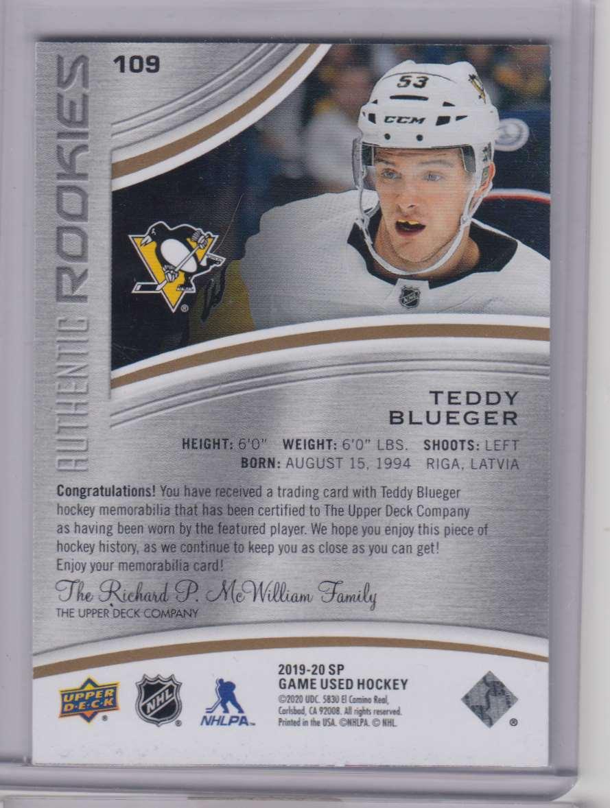 2019-20 SP Game Used Gold Teddy Blueger #109 card back image