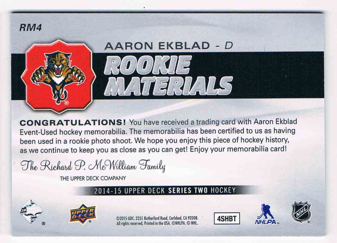 2014-15 Upper Deck Series Two Aaron Ekblad #RM4 card back image