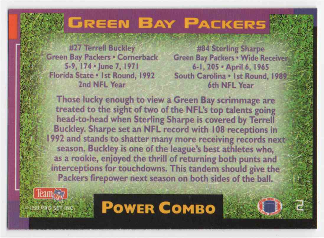 1993 Pro Set Power Power Combo Silver Sterling Sharpe #2 card back image