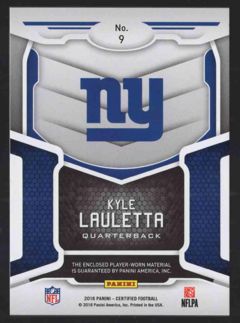 2018 Certified New Generation Jerseys Mirror Orange Kyle Lauletta #9 card back image