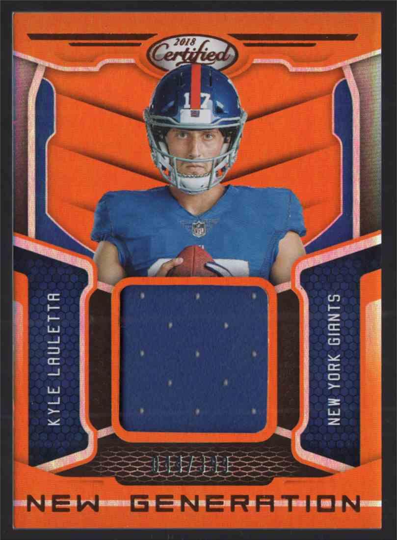 2018 Certified New Generation Jerseys Mirror Orange Kyle Lauletta #9 card front image