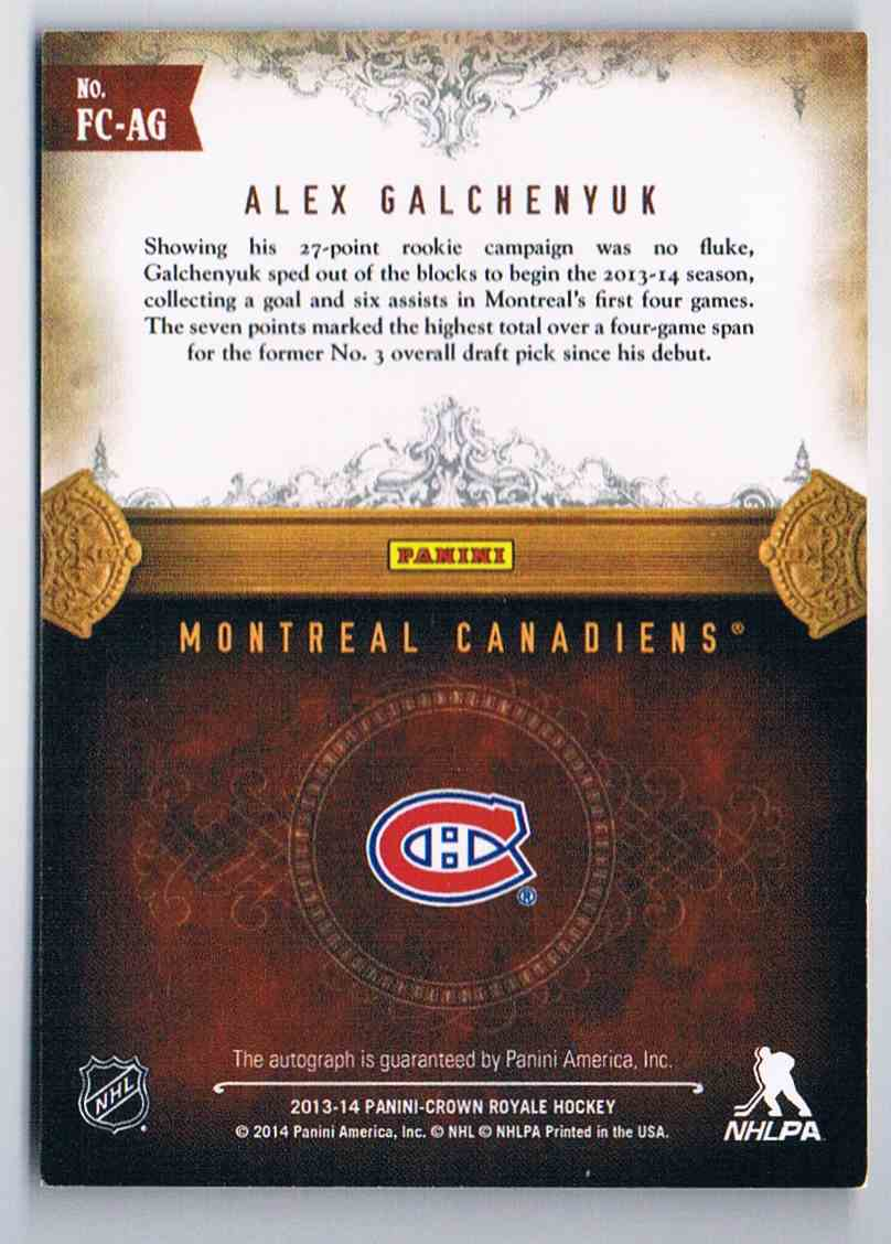 2013-14 Upper Deck Crown Royale First Class Sigs Alex Galchenyuk #FC-AG card back image