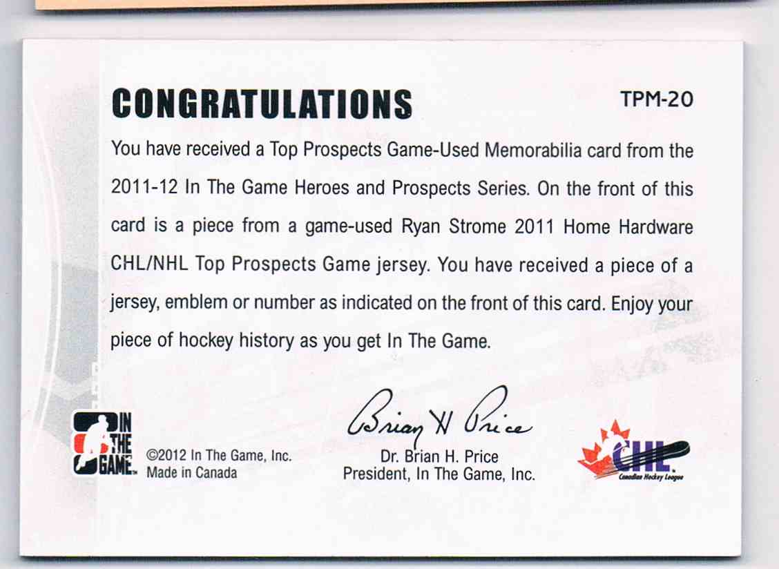 2011-12 ITG In The Game Top Prospects Jersey Silver Vault 1 Of 1 Ryan Strome #TPM-20 card back image