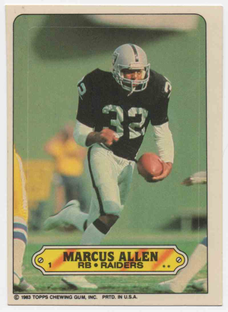 1983 Topps Sticker Insert Marcus Allen #1 card front image