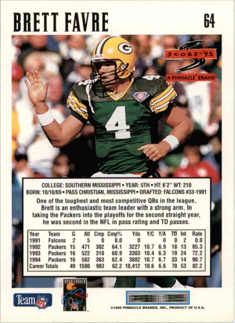 Real Card Back Image 1995 Score Brett Favre 64