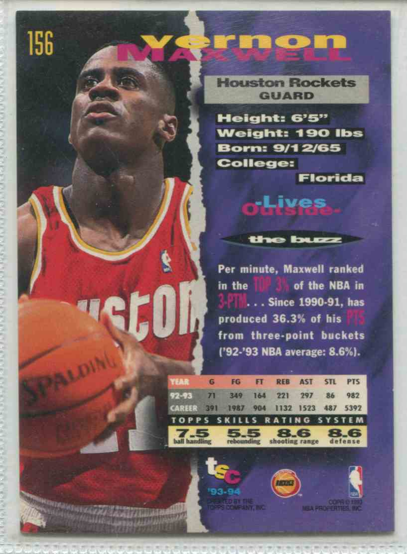 1993 94 Topps Stadium Club Vernon Maxwell 156 on Kronozio