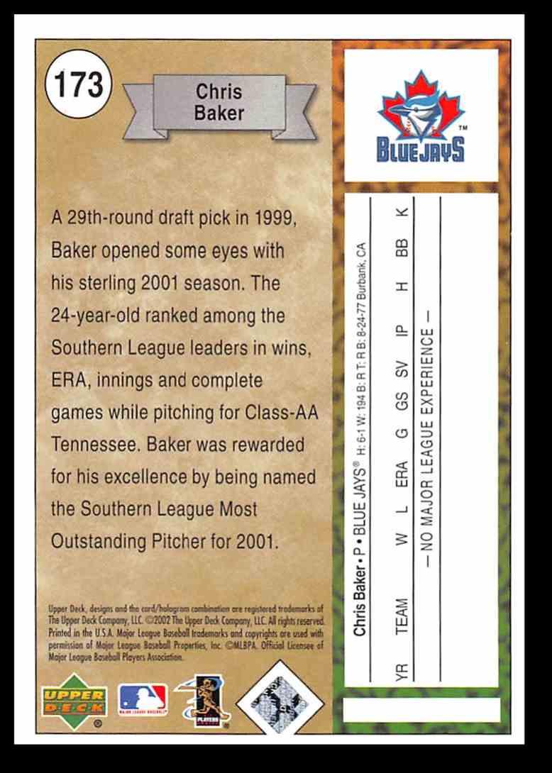2002 Upper Deck Authentics Chris Baker #173 card back image