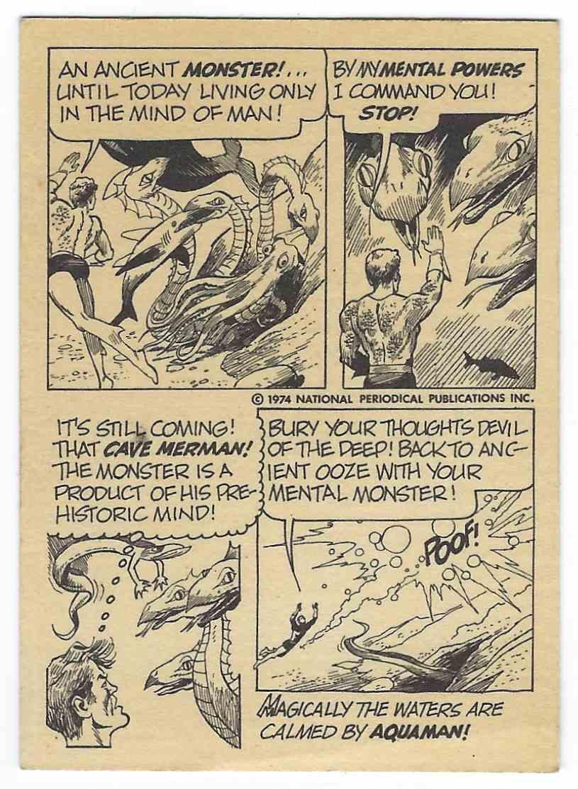 1974 Wonder Bread DC Universe Aquaman card back image
