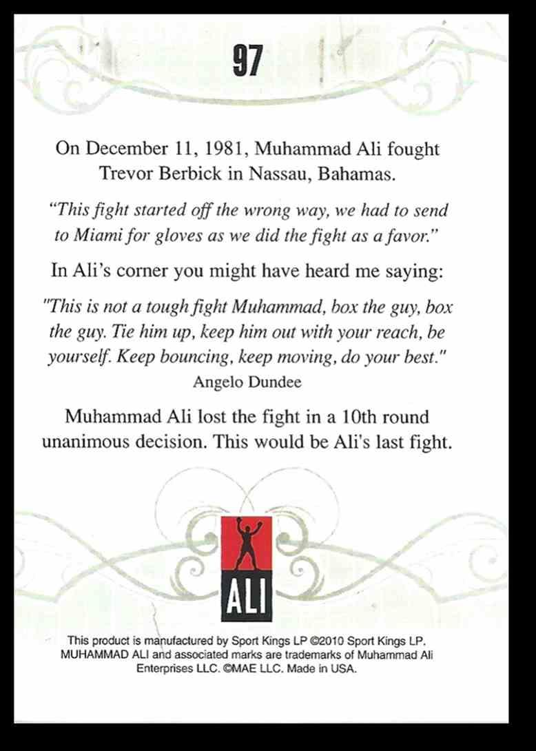 2010 Sport Kings Ringside Boxing Muhammad Ali #97 card back image