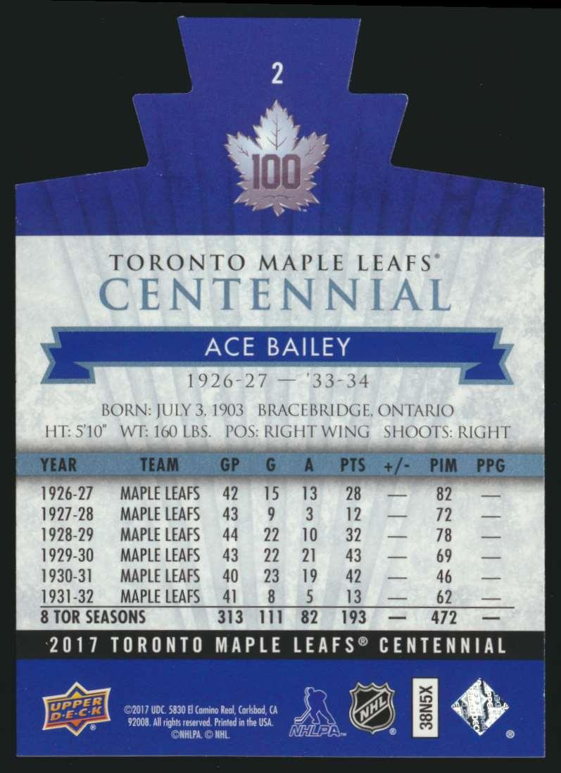 2017-18 UD Maple Leafs Centennial Die Cut Ace Bailey #2 card back image
