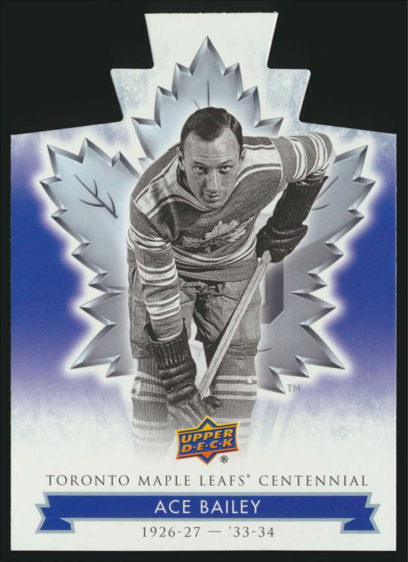 2017-18 UD Maple Leafs Centennial Die Cut Ace Bailey #2 card front image
