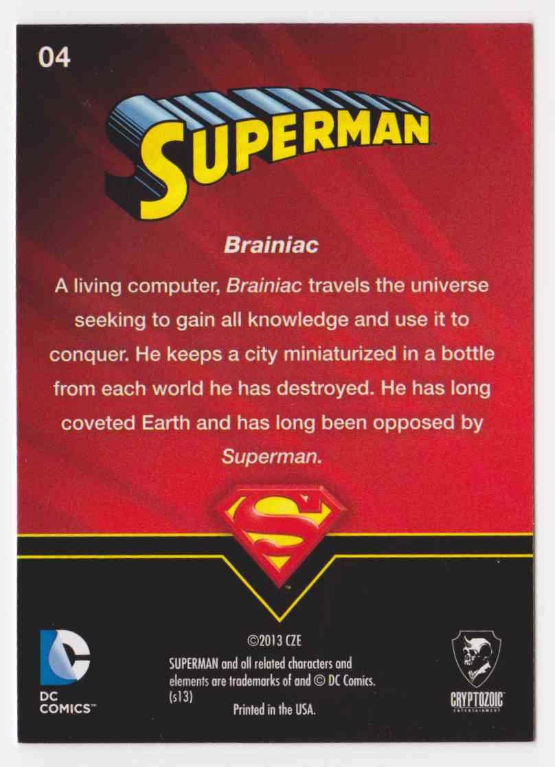 2013 Superman Cryptozoic Superman #4 card back image