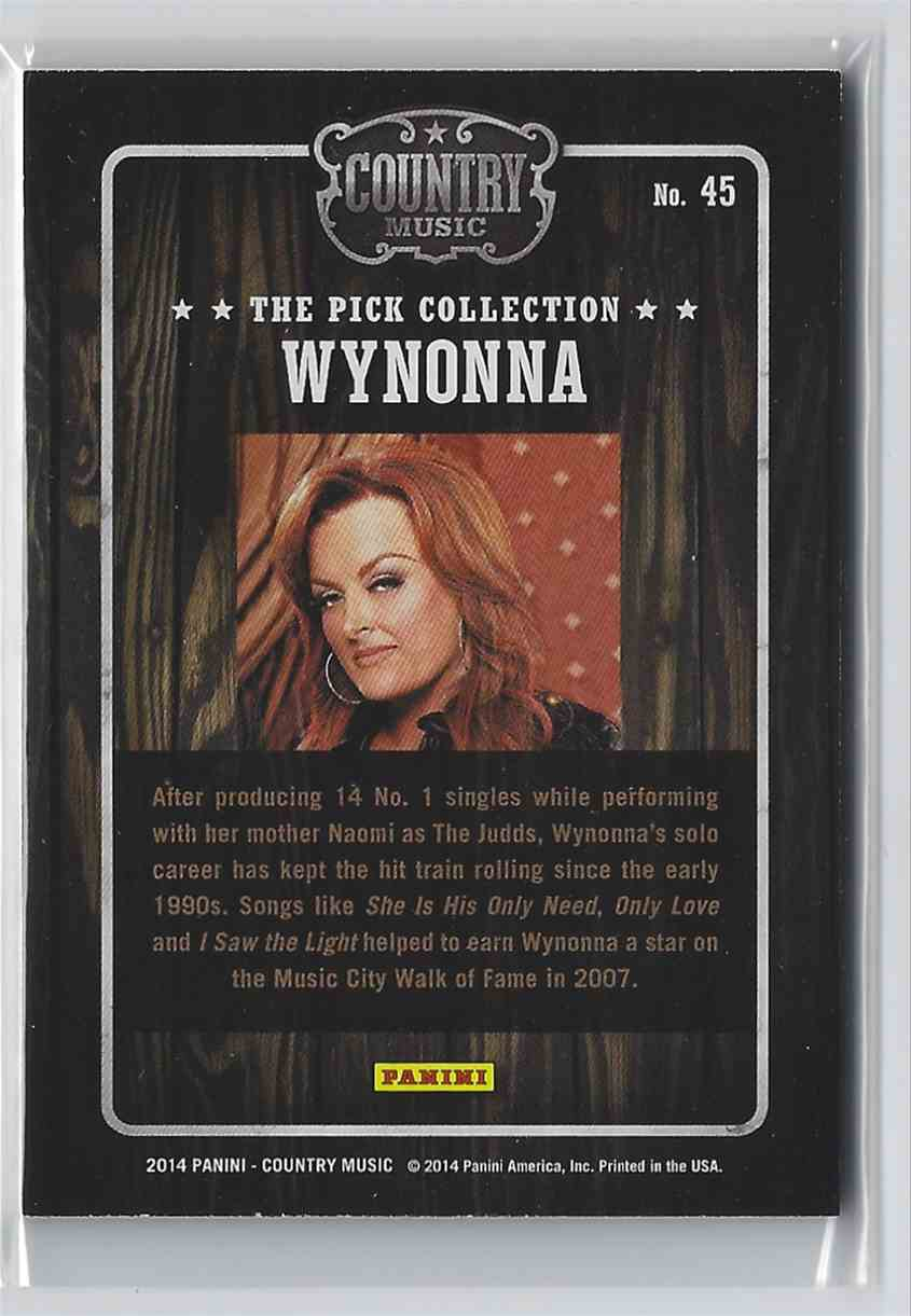 2015 Country Music Pick Collection Wynonna #45 card back image