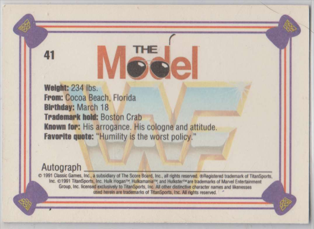 1991 Classic WWF Superstars The Model Ricky Martel #41 card back image
