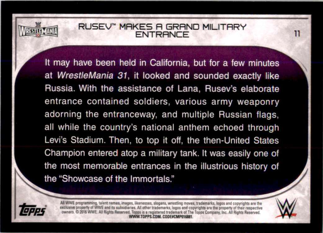 2016 Topps Wwe Road To WrestleMania Rusev Makes A Grand Military Entrance #11 card back image