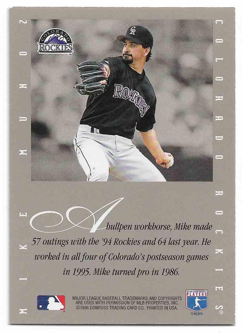 1996 Leaf Update Mike Munoz #MIMU card back image