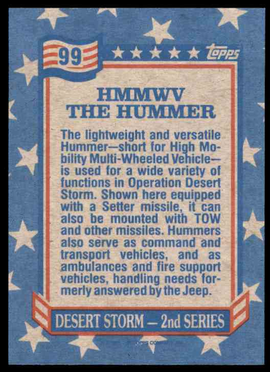 1991 Desert Storm Topps Hmmwv The Hummer #99 card back image
