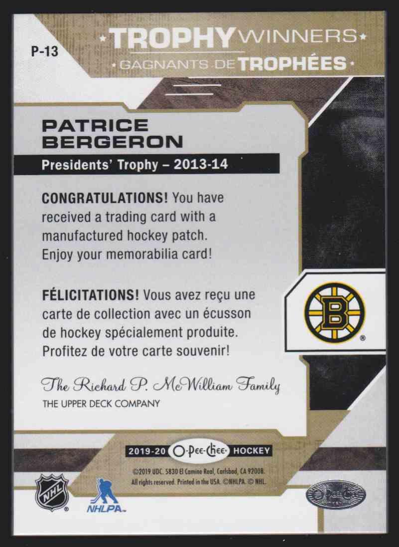 2019-20 Upper Deck Hockey O-Pee-Chee Patrice Bergeron #P-13 card back image
