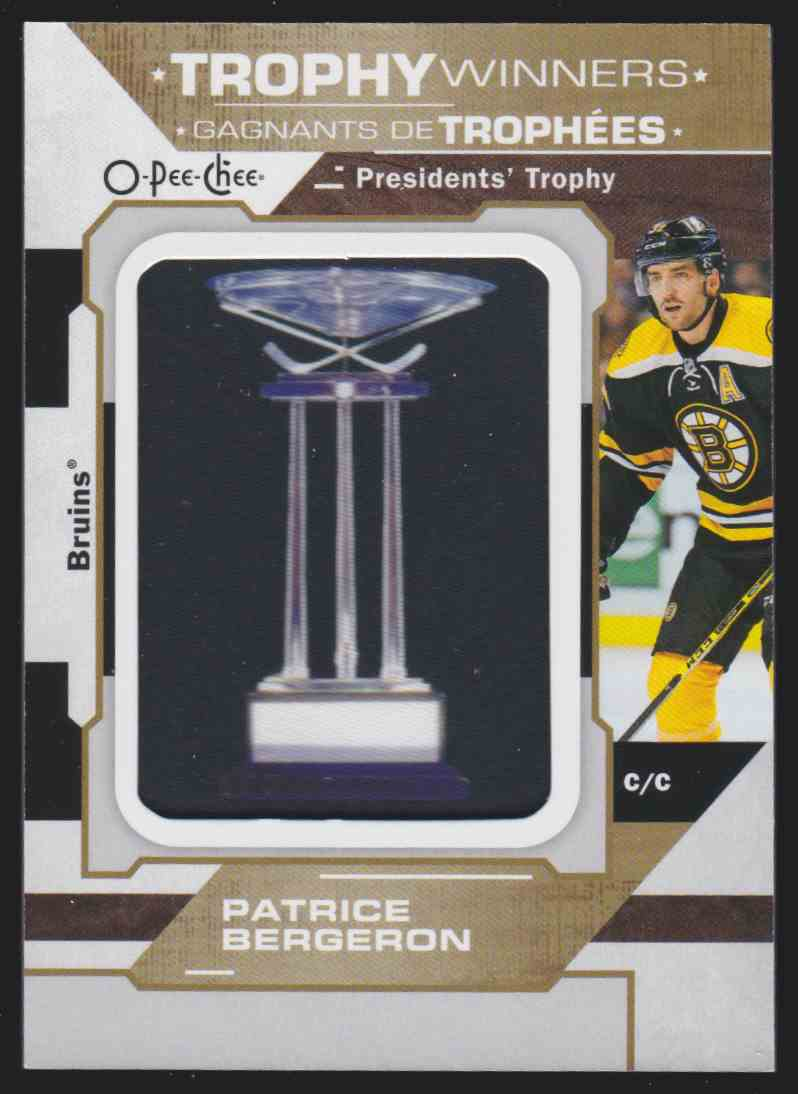 2019-20 Upper Deck Hockey O-Pee-Chee Patrice Bergeron #P-13 card front image