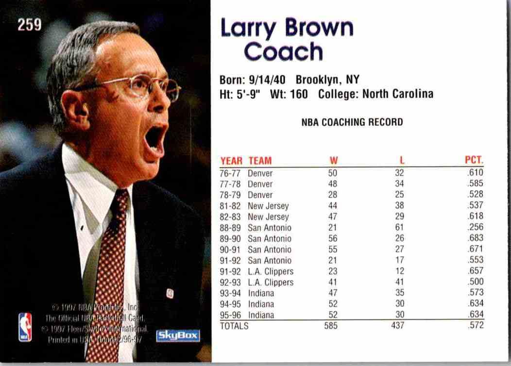 1997-98 NBA Hoops Larry Brown #259 card back image