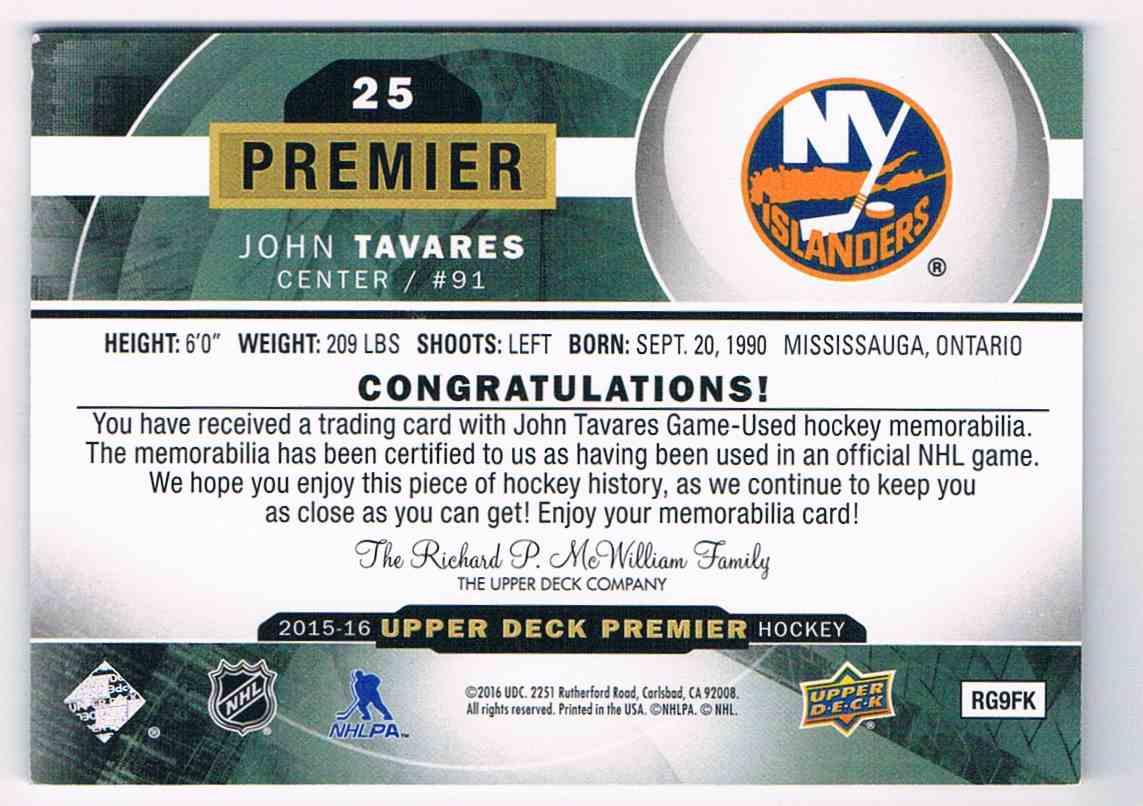 2015-16 Upper Deck Premier Materials John Tavares #25 card back image