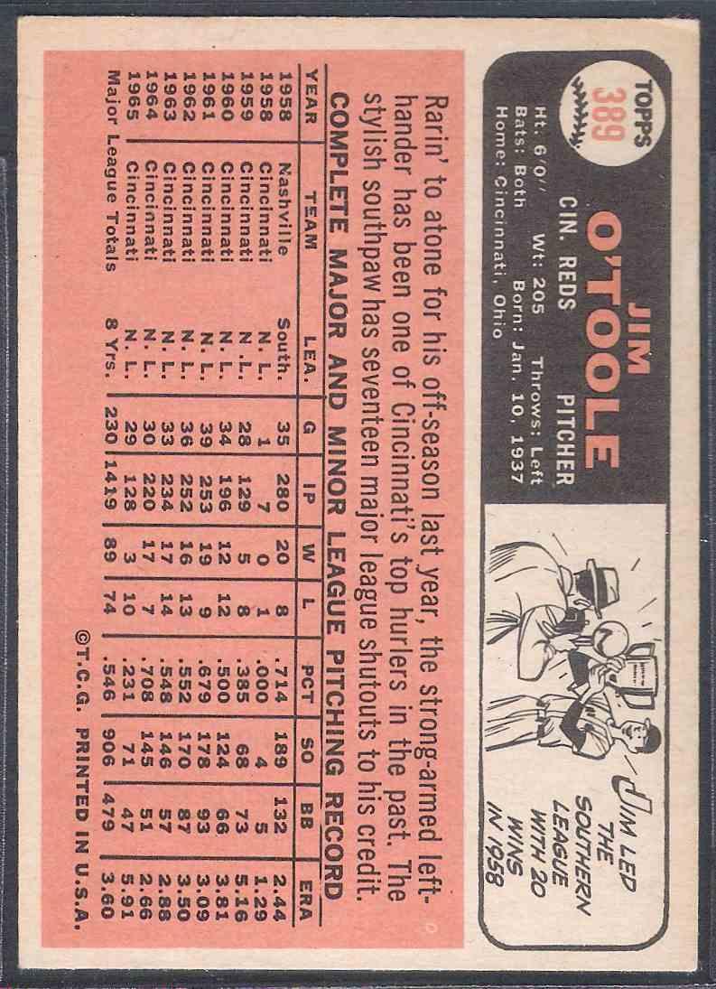 1966 Topps Jim O'Toole #389 card back image