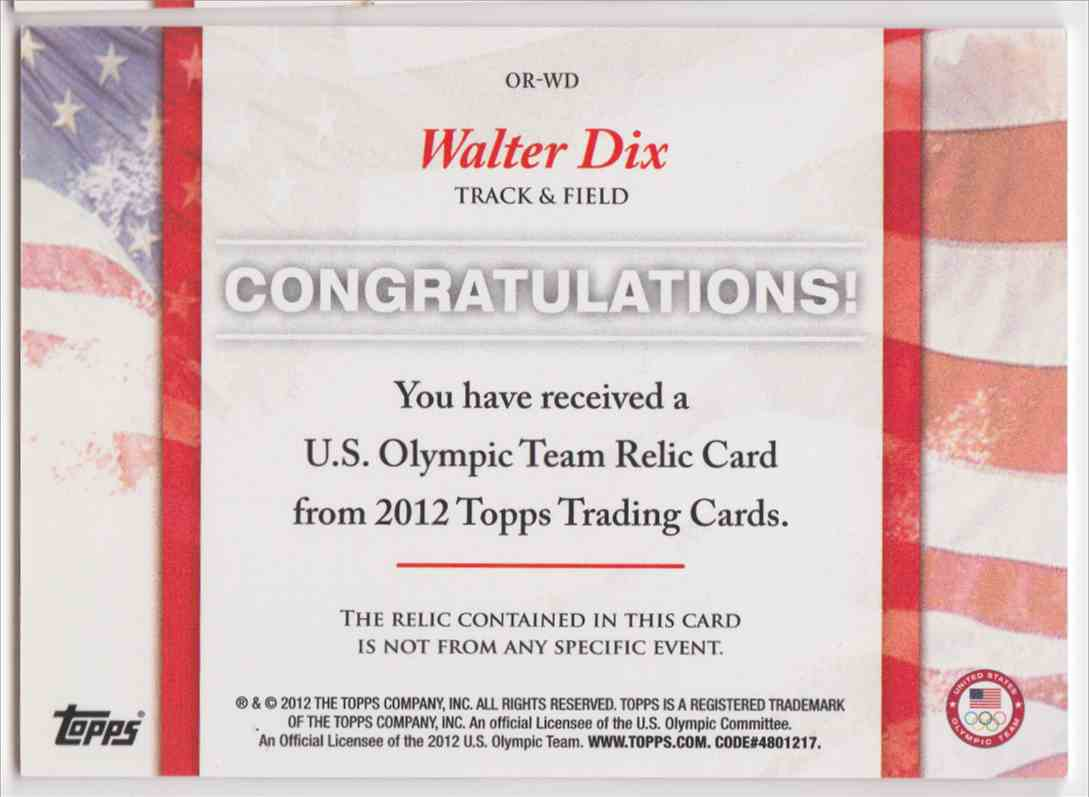 2012 Topps U.S. Olympic Team Relic Walter DIX #OR-WD card back image