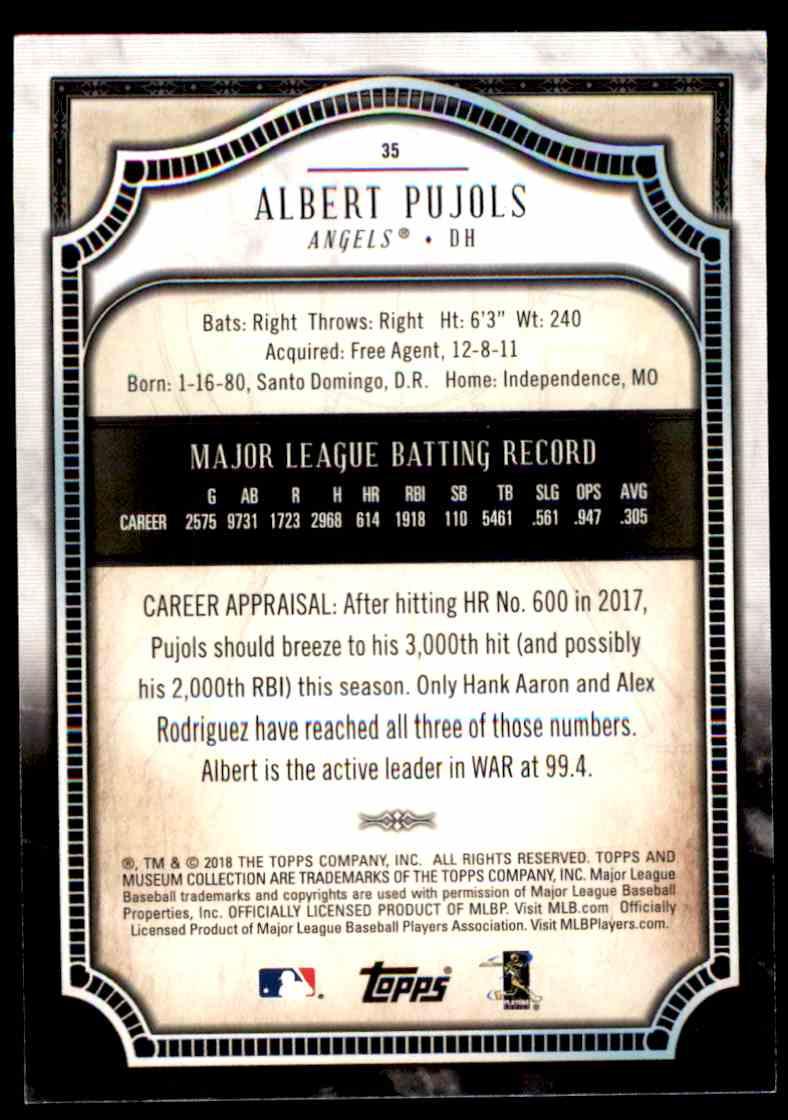 2018 Topps Museum Collection Amethyst Albert Pujols Serial