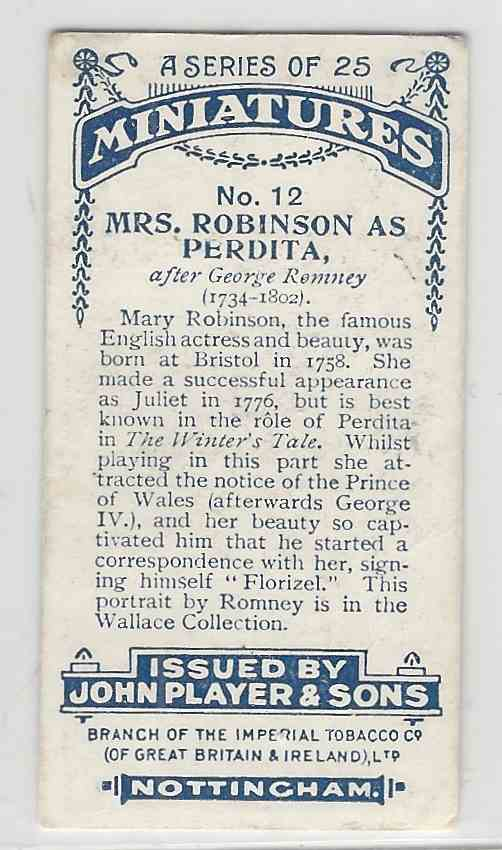 1923 Player's Miniatures Mrs. Robinson #12 card back image