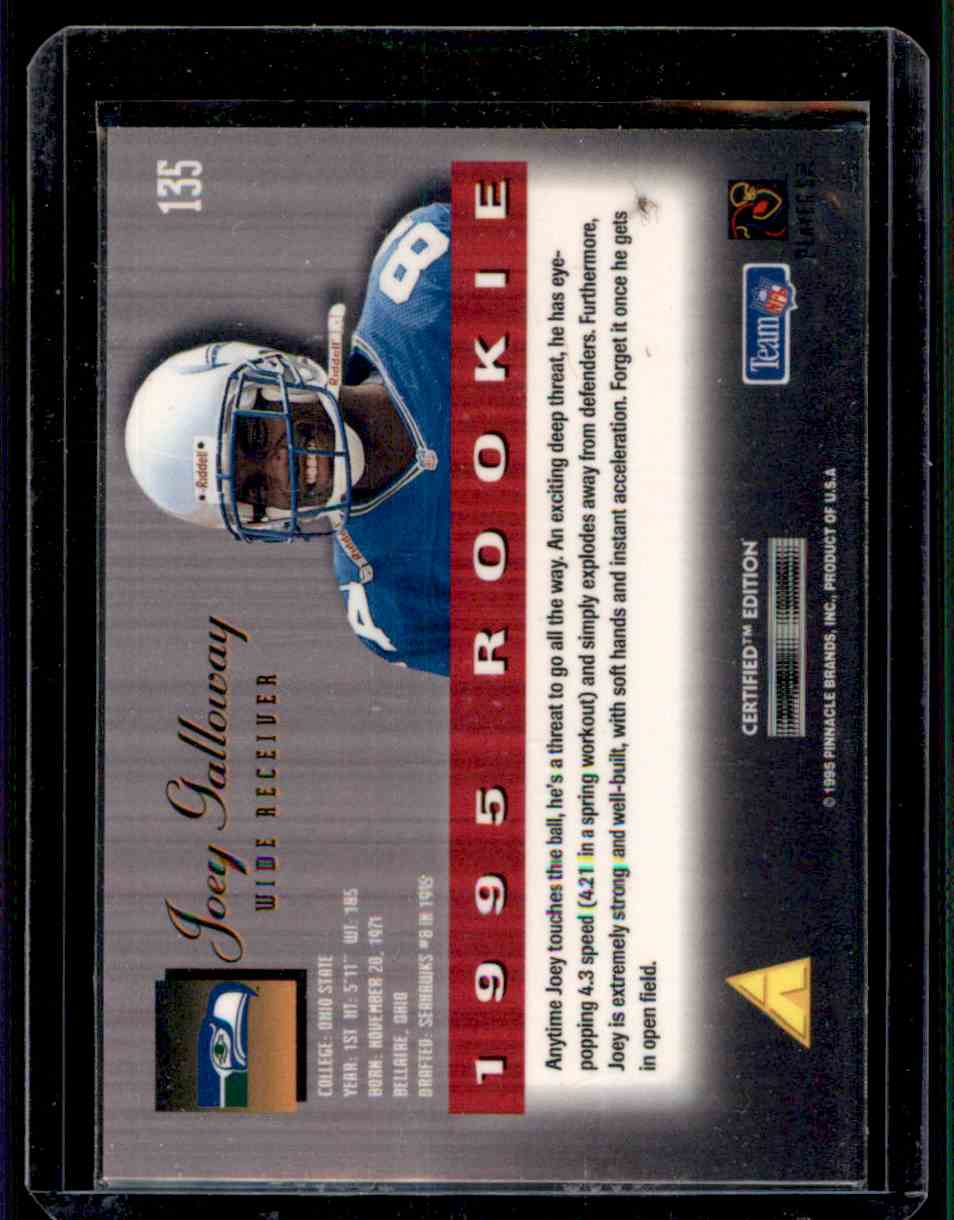 1995 Select Certified Joey Galloway #135 card back image