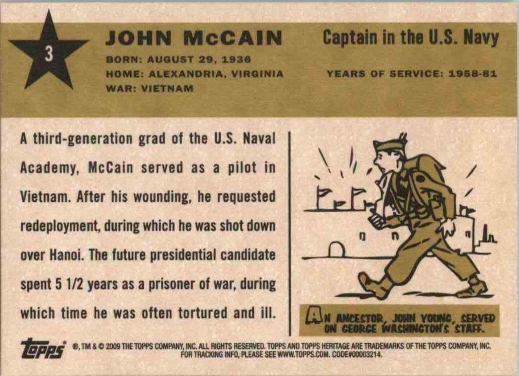 2009 Topps Heritage John Mccain #3 card back image