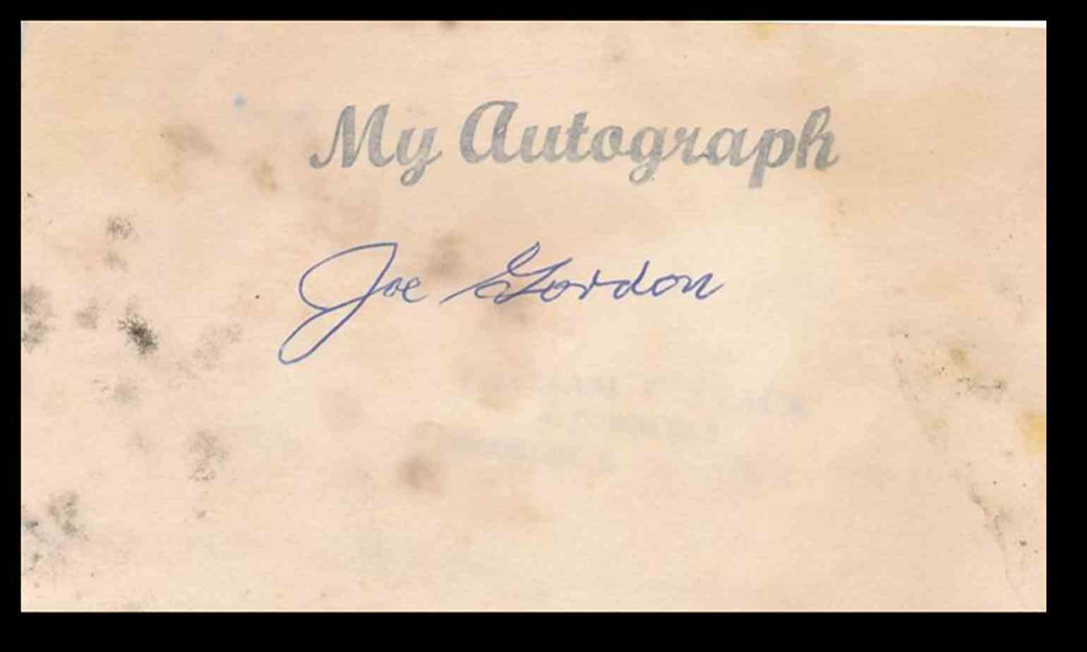 1938 3X5 Joe Gordon card front image