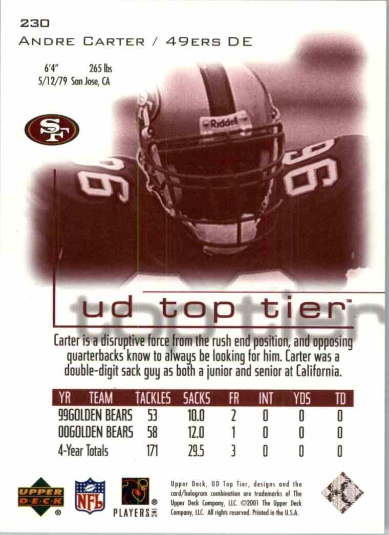 2001 Upper Deck Andre Carter #230 card back image