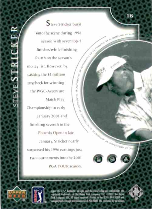 2001 SP Authentic Preview Steve Stricker #18 card back image