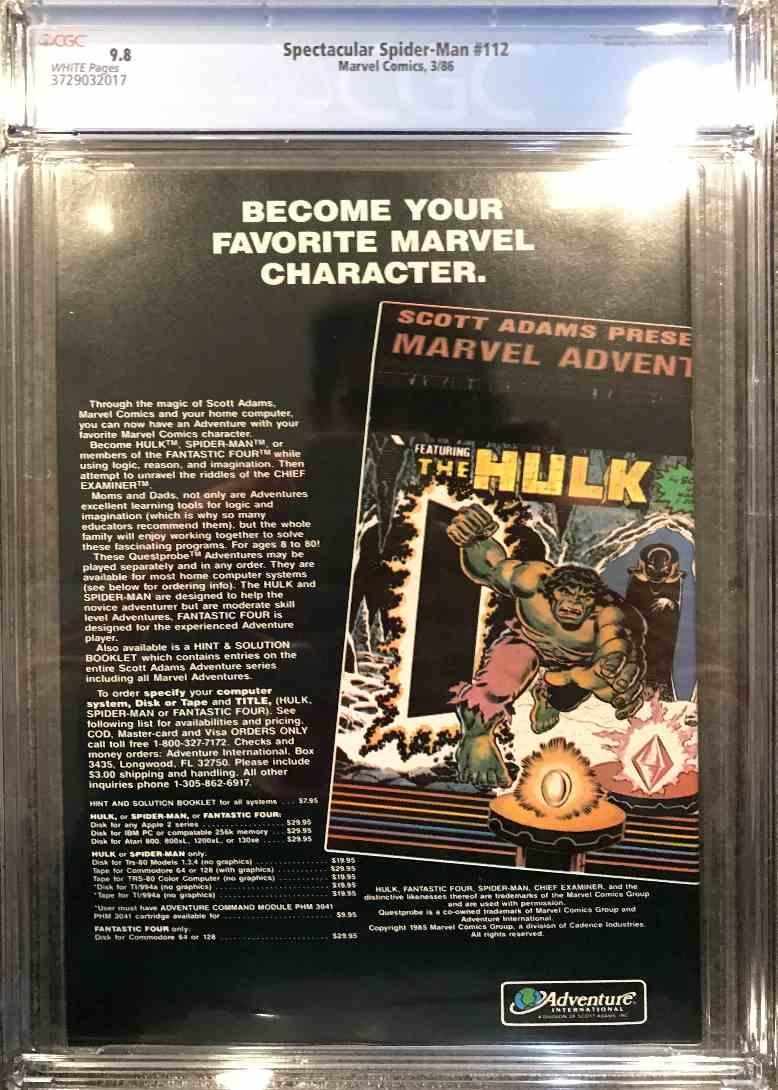 1986 Marvel Cgc 9.8 Santa Cover #112 card back image