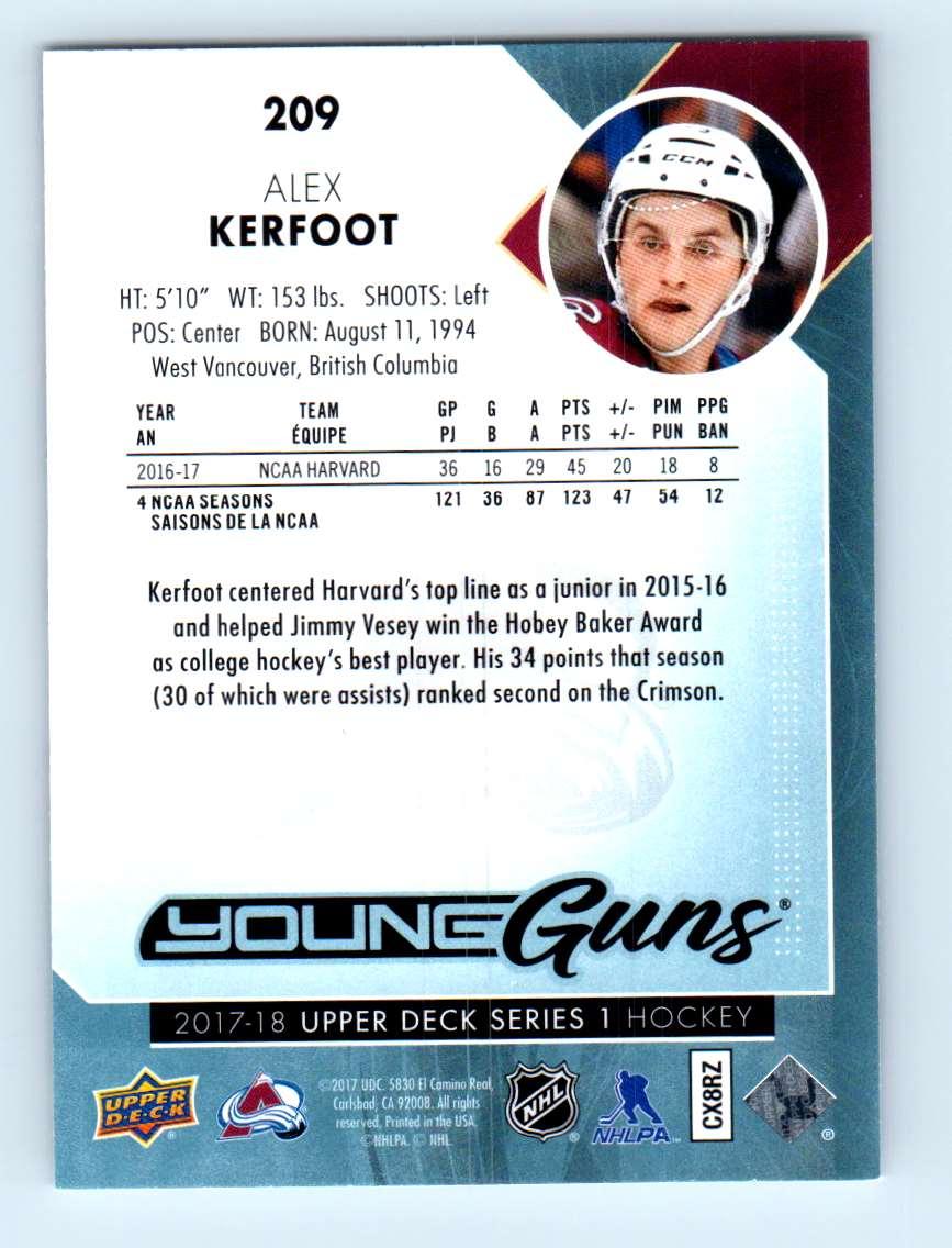 2017-18 Upper Deck Young Guns Alex Kerfoot #209 card back image