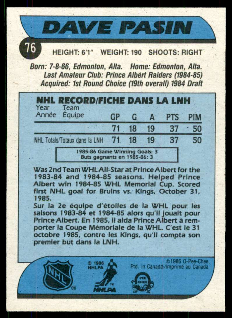1986-87 OPC Dave Pasin #76 card back image