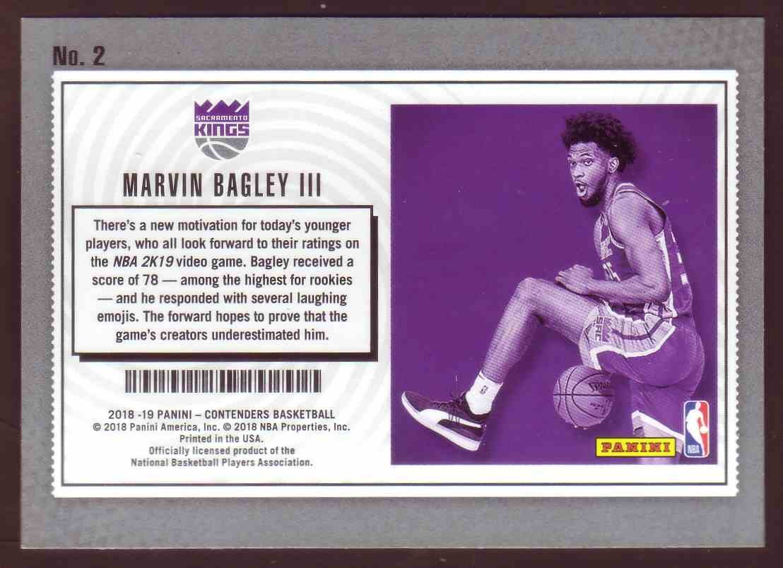 2018-19 Panini Contenders Lottery Tickets Marvin Bagley III #2 card back image