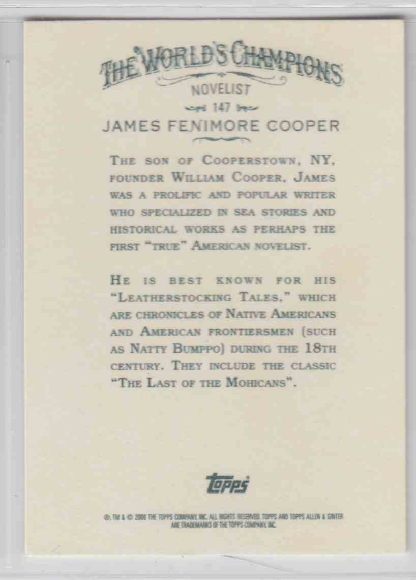 2008 Topps Allen And Ginter James Fenimore Cooper #147 card back image
