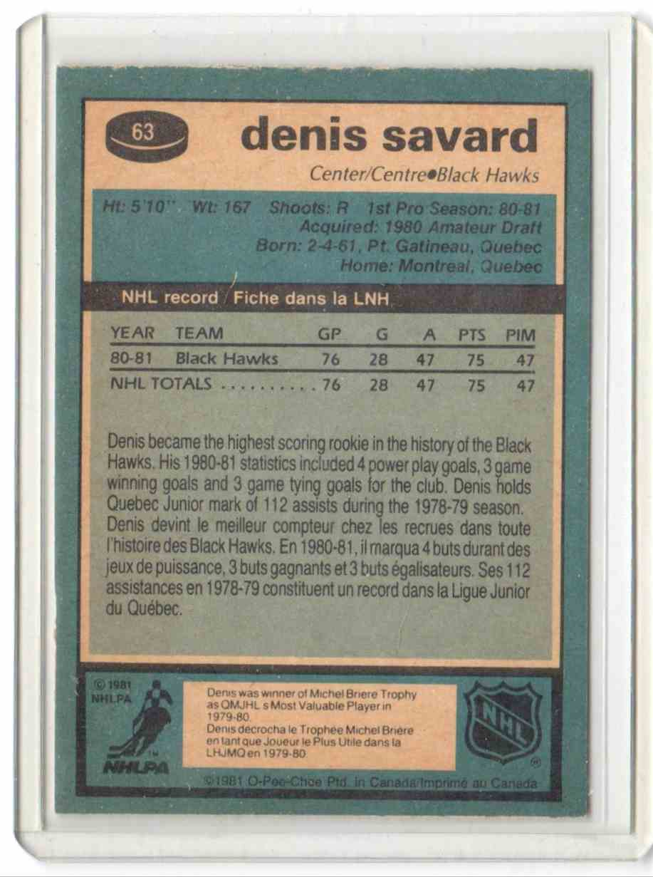 1981-82 O-Pee-Chee Denis Savard #63 card back image