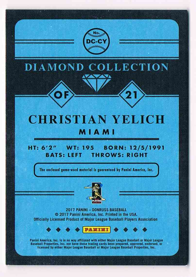 2017 Donruss Diamond Collection Relic Christian Yelich #DC-CY card back image